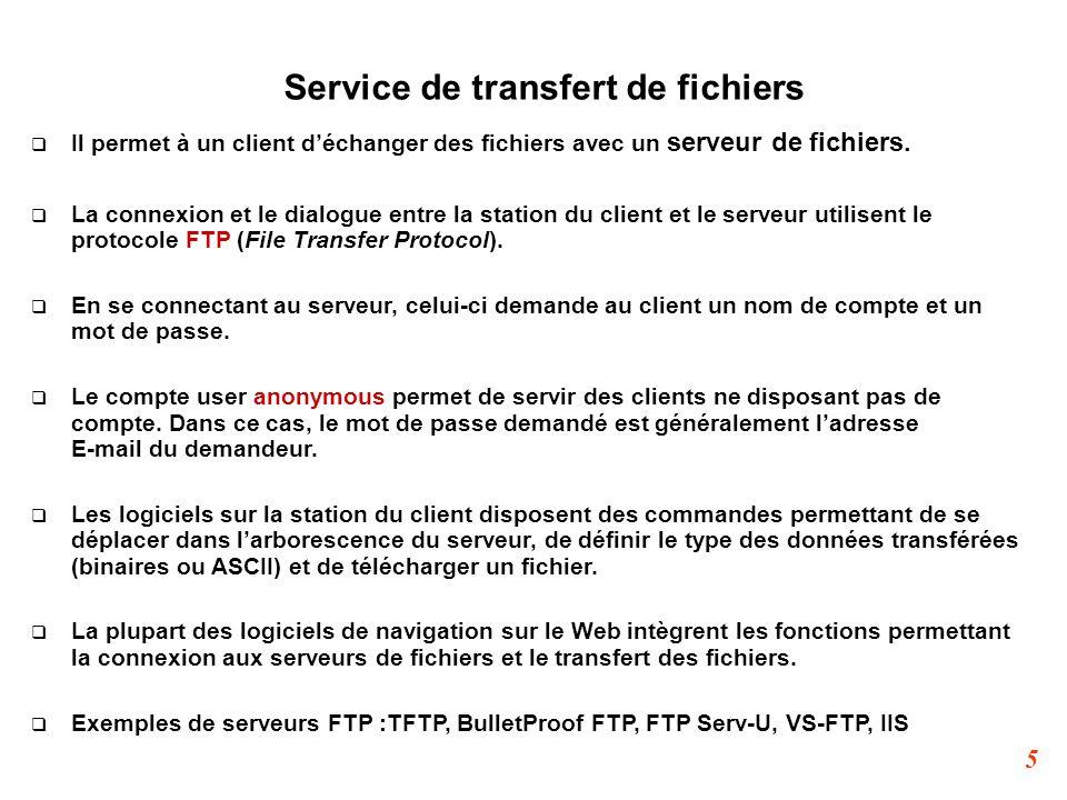 5 Service de transfert de fichiers  Il permet à un client d'échanger des fichiers avec un serveur de fichiers.  La connexion et le dialogue entre la