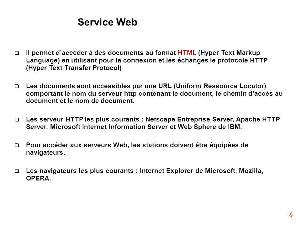 6 Service Web  Il permet d'accéder à des documents au format HTML (Hyper Text Markup Language) en utilisant pour la connexion et les échanges le prot