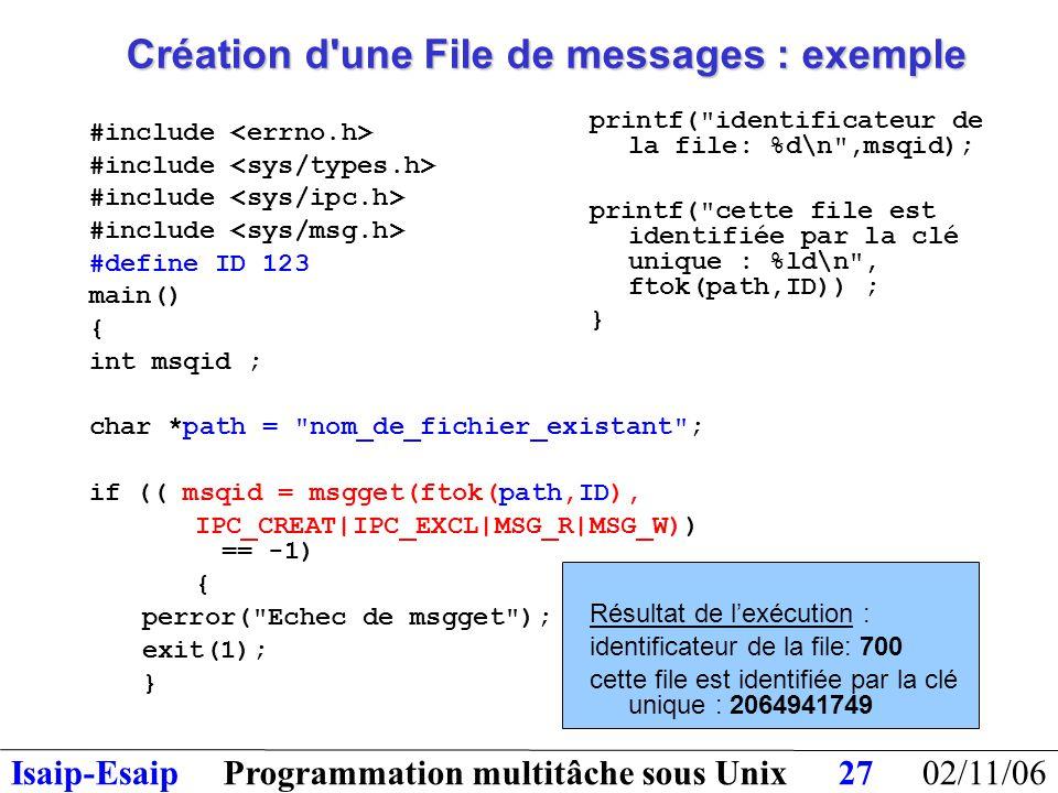 02/11/06Programmation multitâche sous UnixIsaip-Esaip27 Création d une File de messages : exemple #include #define ID 123 main() { int msqid ; char *path = nom_de_fichier_existant ; if (( msqid = msgget(ftok(path,ID), IPC_CREAT|IPC_EXCL|MSG_R|MSG_W)) == -1) { perror( Echec de msgget ); exit(1); } printf( identificateur de la file: %d\n ,msqid); printf( cette file est identifiée par la clé unique : %ld\n , ftok(path,ID)) ; } Résultat de l'exécution : identificateur de la file: 700 cette file est identifiée par la clé unique : 2064941749