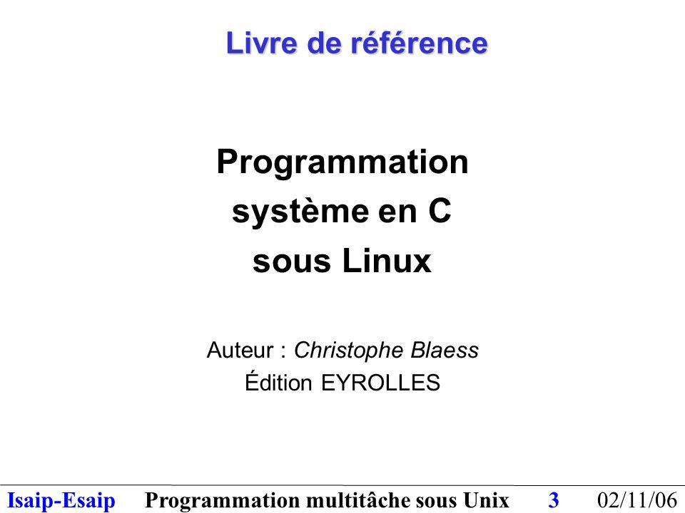 02/11/06Programmation multitâche sous UnixIsaip-Esaip34 Sémaphores : algorithmes des primitives P et V Initialisation(sémaphore,n) valeur[sémaphore] = n P(sémaphore) valeur[sémaphore] = valeur[sémaphore] - 1 si (valeur[sémaphore] < 0) alors étatProcessus = Bloqué mettre processus en file d'attente finSi invoquer l'ordonnanceur V(sémaphore) valeur[sémaphore] = valeur[sémaphore] + 1 si (valeur[sémaphore] == 0) alors extraire processus de file d'attente étatProcessus = Prêt finSi invoquer l'ordonnanceur
