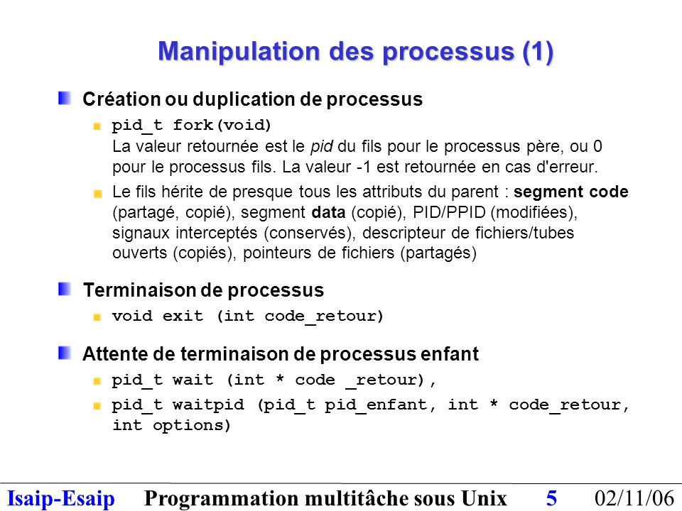 02/11/06Programmation multitâche sous UnixIsaip-Esaip26 Files de messages : primitives Création : int msgget(key_t key, int flg) : retour = msq_id Emission : (bloquante si file pleine et flg ne contient pas IPC_NOWAIT) int msgsnd(int msqid,struct msgbuf *msgp,int msgsz,int flg); Avec struct msgbuf {long msgtyp; char * msgtext;} Réception : (bloquante si file vide et flg ne contient pas IPC_NOWAIT) int msgrcv(int msqid, void *msgp, size_t msgsz, long msgtyp, int msgflg); msgtyp = 0 : premier message lu msgtyp > 0 : premier message de type msgtyp msgtyp < 0 : premier message avec un type ≤ |msgtyp| Opérations de contrôle : int msgctl(int f_id, int cmde, struct msqid_ds *structure) cmde = IPC_RMID, IPC_STAT, IPC_SET msqid_ds : structure définie dans qui donne des informations sur la file comme les droits d'accès, le dernier processus écrivain,etc.