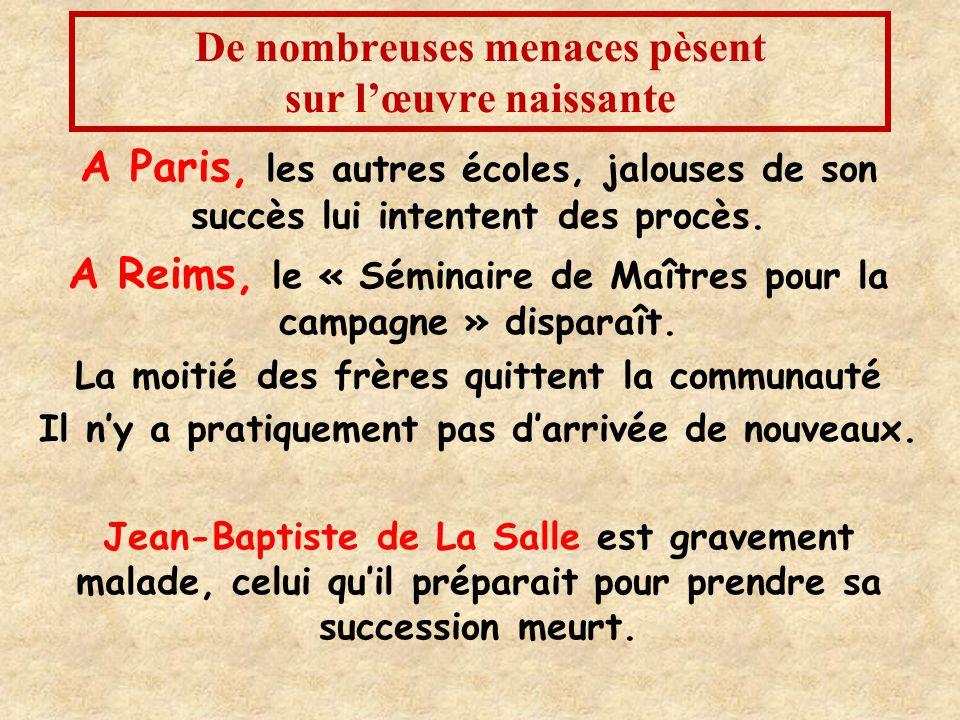De nombreuses menaces pèsent sur l'œuvre naissante A Paris, les autres écoles, jalouses de son succès lui intentent des procès.