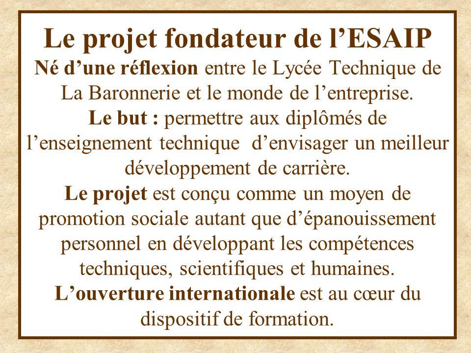 Inséré dans une histoire 1988 : création de l'Institut ISAIP 1989 : premiers contrats de partenariats avec des écoles en Espagne et en Allemagne 1992: Partenariat avec l'Institut Montéclair 1994 : reconnaissance de l'ISAIP par l'Etat 1995: ouverture de la formation Bac+5 en « Sécurité-Environnement –Prévention » 1996 : Ouverture effective de sites associés 1997: l'ISAIP est associée à l'UCO et habilitée à délivrer le titre d'ingénieur diplômé
