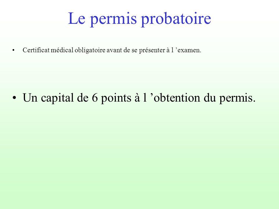 Le permis probatoire Un capital de 6 points à l 'obtention du permis. Certificat médical obligatoire avant de se présenter à l 'examen.