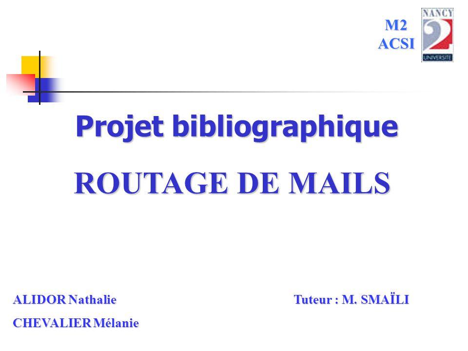1 Projet bibliographique ROUTAGE DE MAILS M2 ACSI ALIDOR Nathalie Tuteur : M. SMAÏLI CHEVALIER Mélanie