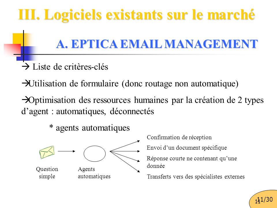11 III. Logiciels existants sur le marché  Liste de critères-clés  Utilisation de formulaire (donc routage non automatique)  Optimisation des resso