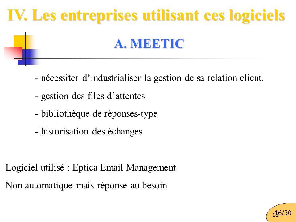 16 IV. Les entreprises utilisant ces logiciels - nécessiter d'industrialiser la gestion de sa relation client. - gestion des files d'attentes - biblio