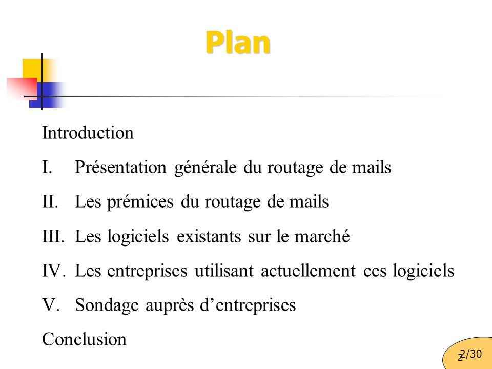 2 Plan Introduction I.Présentation générale du routage de mails II.Les prémices du routage de mails III.Les logiciels existants sur le marché IV.Les entreprises utilisant actuellement ces logiciels V.Sondage auprès d'entreprises Conclusion 2/30