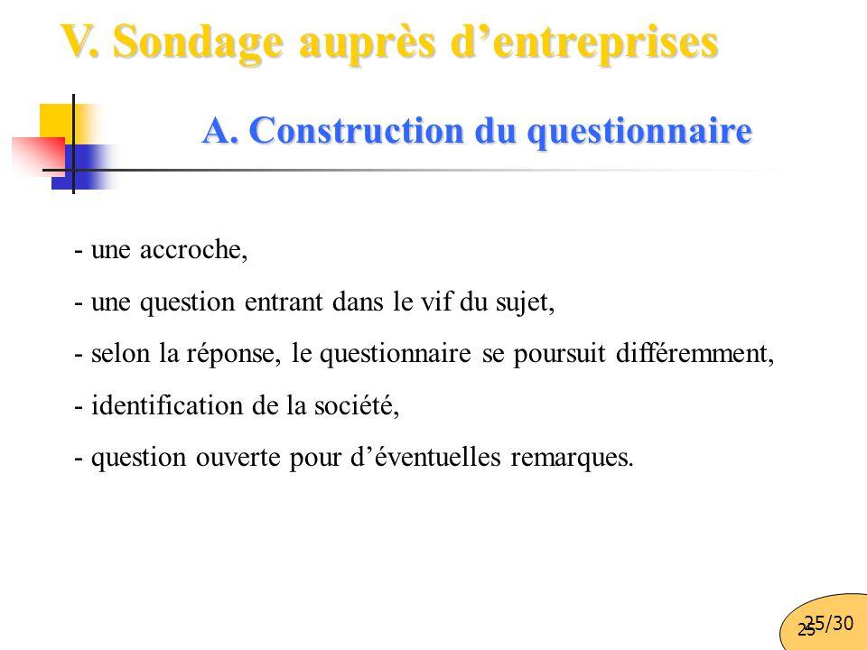 25 V. Sondage auprès d'entreprises A. Construction du questionnaire - une accroche, - une question entrant dans le vif du sujet, - selon la réponse, l