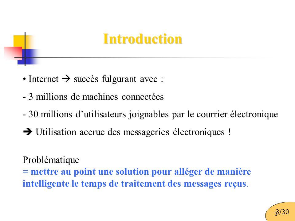 3 Introduction Internet  succès fulgurant avec : - 3 millions de machines connectées - 30 millions d'utilisateurs joignables par le courrier électron