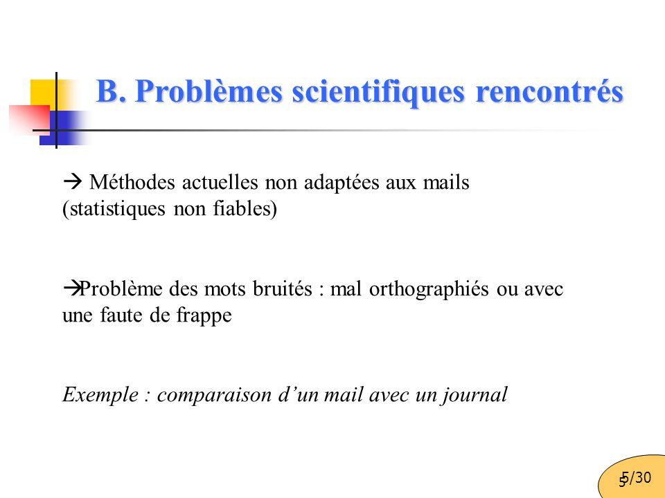 5 B. Problèmes scientifiques rencontrés  Méthodes actuelles non adaptées aux mails (statistiques non fiables)  Problème des mots bruités : mal ortho