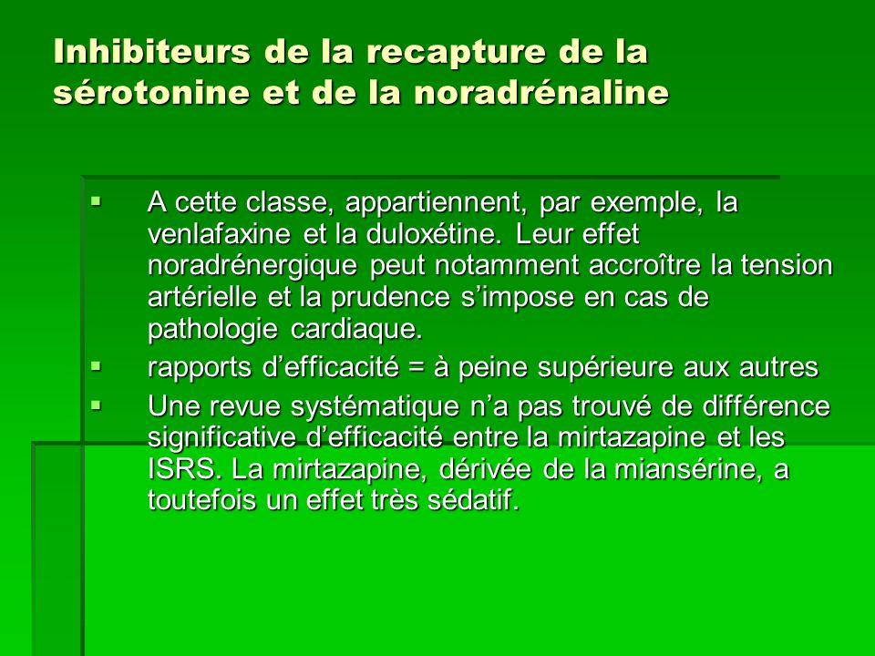 Inhibiteurs de la recapture de la sérotonine et de la noradrénaline  A cette classe, appartiennent, par exemple, la venlafaxine et la duloxétine.