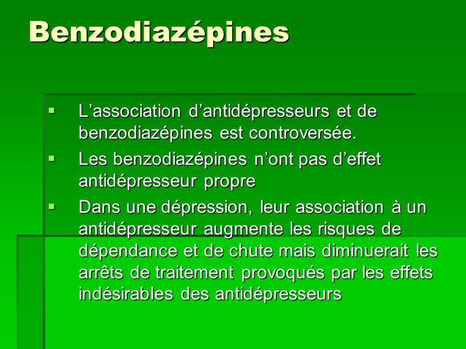 Benzodiazépines  L'association d'antidépresseurs et de benzodiazépines est controversée.