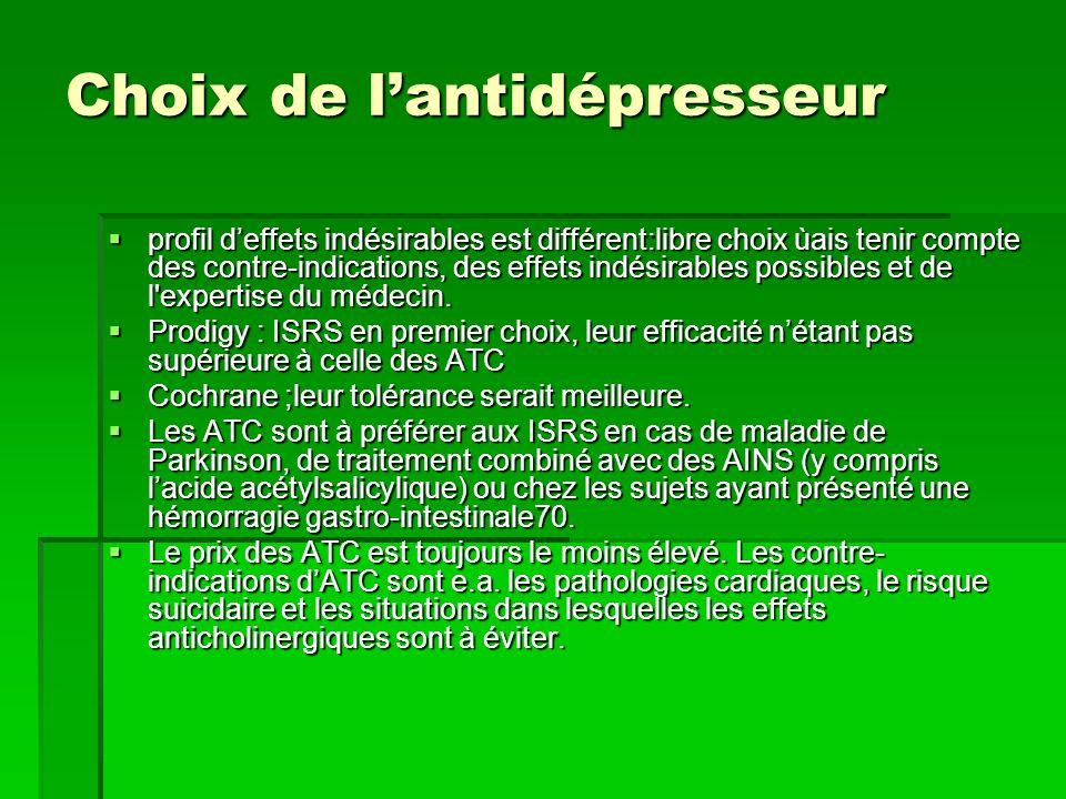 Choix de l'antidépresseur  profil d'effets indésirables est différent:libre choix ùais tenir compte des contre-indications, des effets indésirables possibles et de l expertise du médecin.