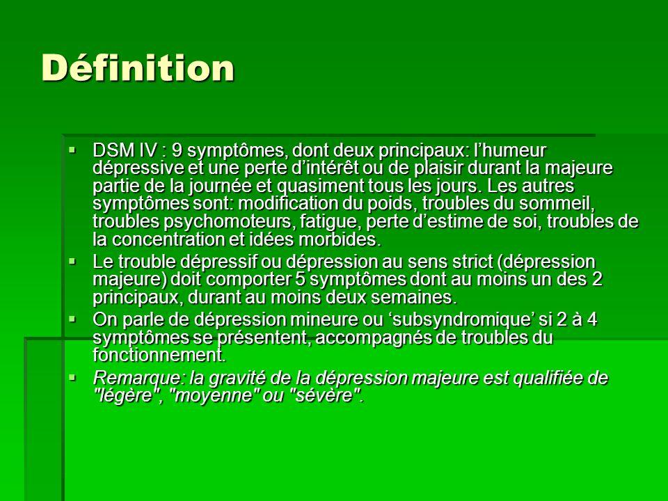 Définition  DSM IV : 9 symptômes, dont deux principaux: l'humeur dépressive et une perte d'intérêt ou de plaisir durant la majeure partie de la journée et quasiment tous les jours.