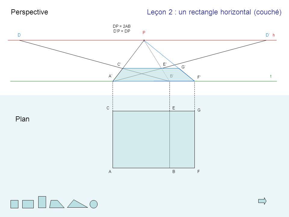 AB EC t Plan Perspective A'A'B'B' h P DD'D' DP = 2AB D'P = DP C'C'E'E' F G F'F' G'G' Leçon 2 : un rectangle horizontal (couché)