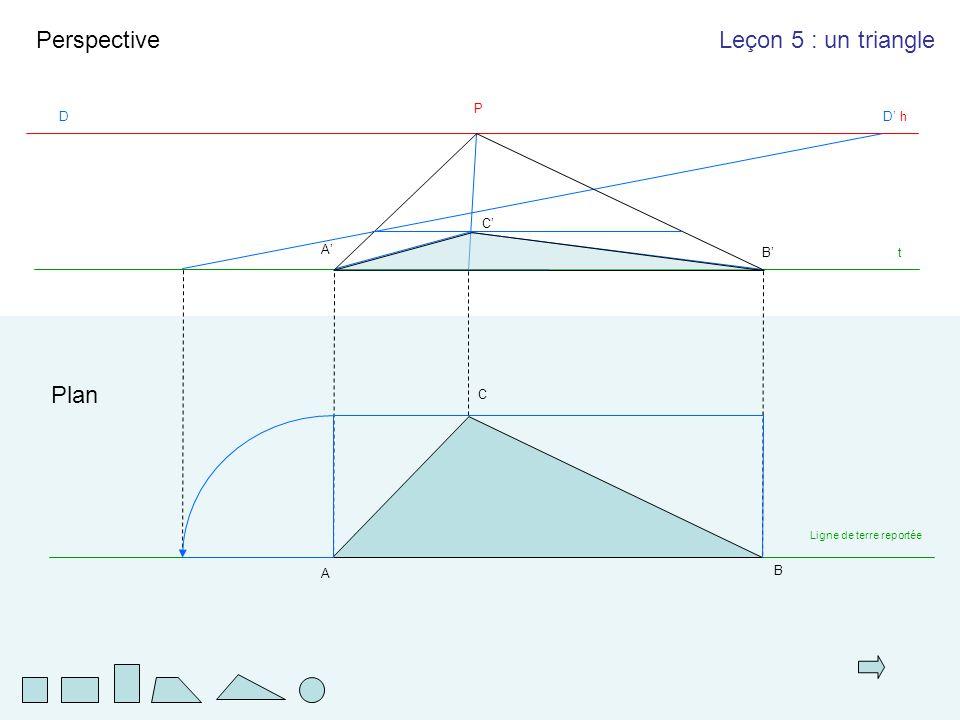 A B C t Plan Perspective A'A' B'B' h P DD'D' Leçon 5 : un triangle C'C' Ligne de terre reportée
