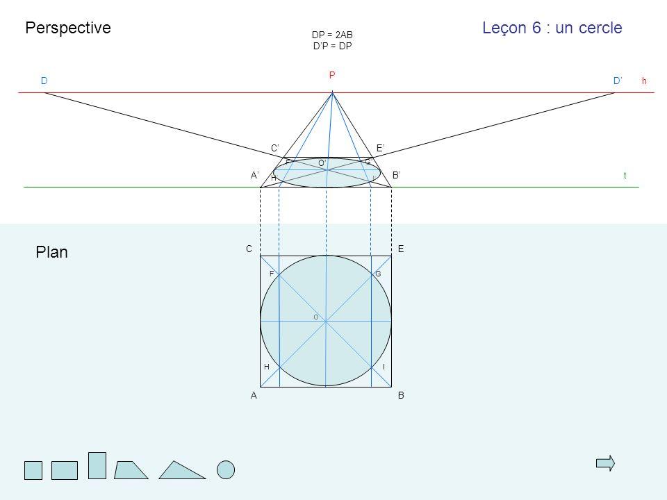 AB EC t Plan Perspective A'A'B'B' h P DD'D' DP = 2AB D'P = DP C'C'E'E' Leçon 6 : un cercle o F G H I G'G' F'F' I'I' H'H' O'O'