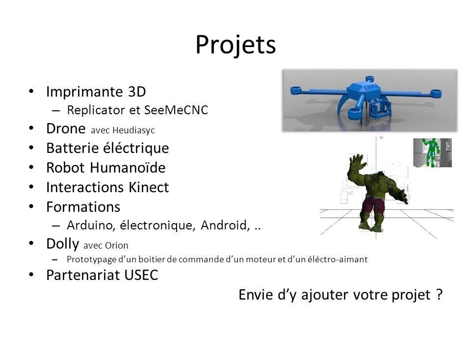 Projets Imprimante 3D – Replicator et SeeMeCNC Drone avec Heudiasyc Batterie éléctrique Robot Humanoïde Interactions Kinect Formations – Arduino, électronique, Android,..