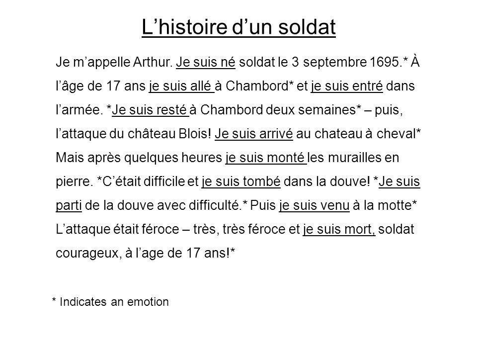 L'histoire d'un soldat Je m'appelle Arthur. Je suis né soldat le 3 septembre 1695.* À l'âge de 17 ans je suis allé à Chambord* et je suis entré dans l