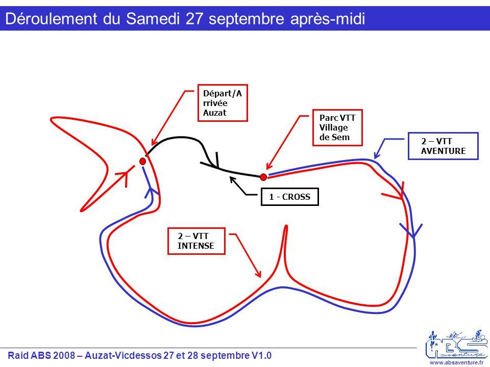 Raid ABS 2008 – Auzat-Vicdessos 27 et 28 septembre V1.0 www.absaventure.fr Déroulement du Samedi 27 sept après midi Retrait des dossards (+ plaques VTT) à partir de 9h00 Dépose des VTT au parc à vélo du village de Sem à partir de 9h30 Briefing 13h00 Départ 13h30 pour le Raid Intense et 14h00 pour le Raid Aventure Epreuve 1 CROSS: Cross balisé de 5 Km / 330 D+ environ Epreuve 2 VTT: Prise des VTT au parc à vélo de Sem et départ pour VTT balisé –Intense: 37 Km / 1400 D+ environ –Aventure: 24 Km / 1000 D+ environ A l'issue du VTT les concurrents pourront se restaurer et se préparer l'épreuve de nuit de CO.