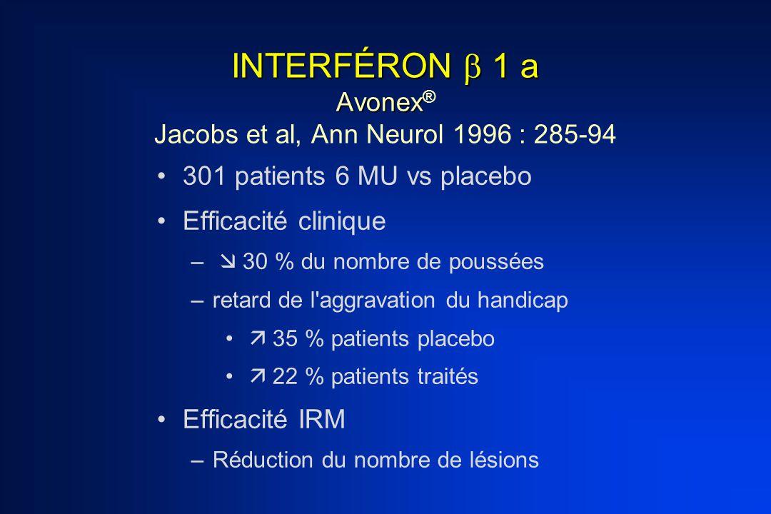 INTERFÉRON  1 a Avonex INTERFÉRON  1 a Avonex ® Jacobs et al, Ann Neurol 1996 : 285-94 301 patients 6 MU vs placebo Efficacité clinique –  30 % du
