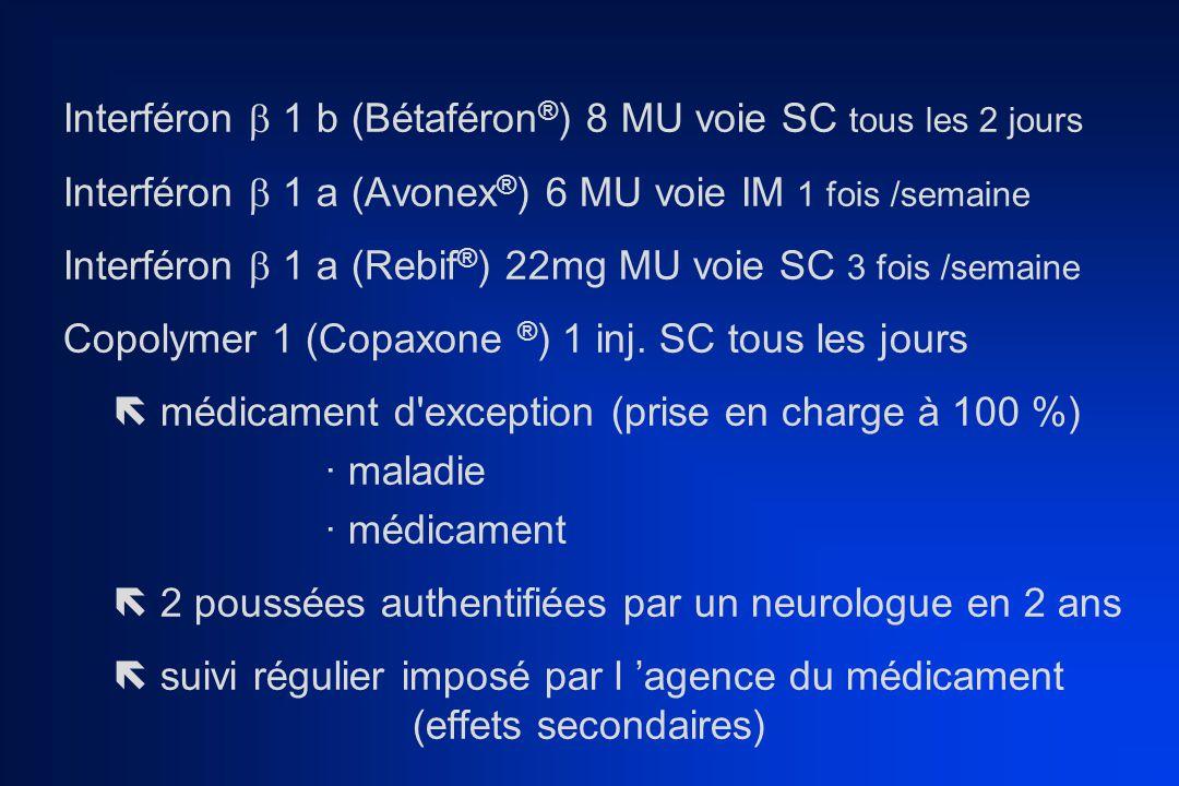 Interféron  1 b (Bétaféron ® ) 8 MU voie SC tous les 2 jours Interféron  1 a (Avonex ® ) 6 MU voie IM 1 fois /semaine Interféron  1 a (Rebif ® ) 22