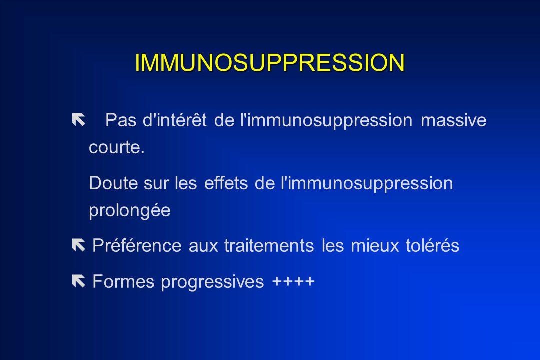 IMMUNOSUPPRESSION  Pas d'intérêt de l'immunosuppression massive courte. Doute sur les effets de l'immunosuppression prolongée  Préférence aux trait