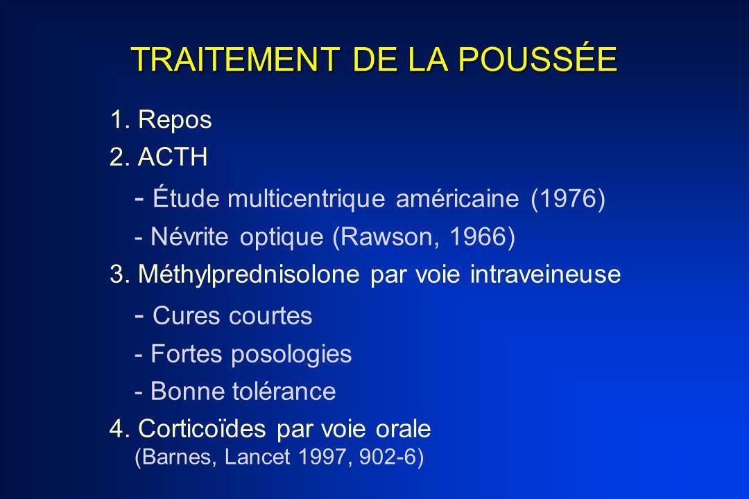 TRAITEMENT DE LA POUSSÉE 1. Repos 2. ACTH - Étude multicentrique américaine (1976) - Névrite optique (Rawson, 1966) 3. Méthylprednisolone par voie int