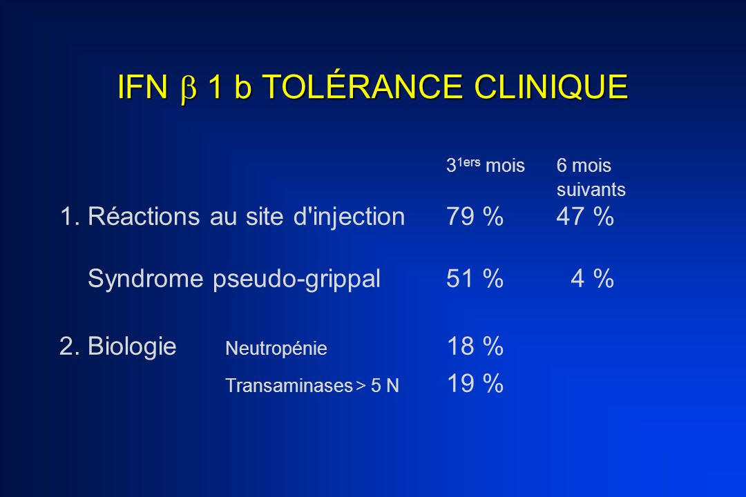 INTERFÉRON  1b Effets secondaires –Cutanés (nodules point d injection) –États grippaux Perte d efficacité avec le temps Absence d effet sur le handicap (EDSS) Présence d anticorps neutralisants (58 % à 3 ans)