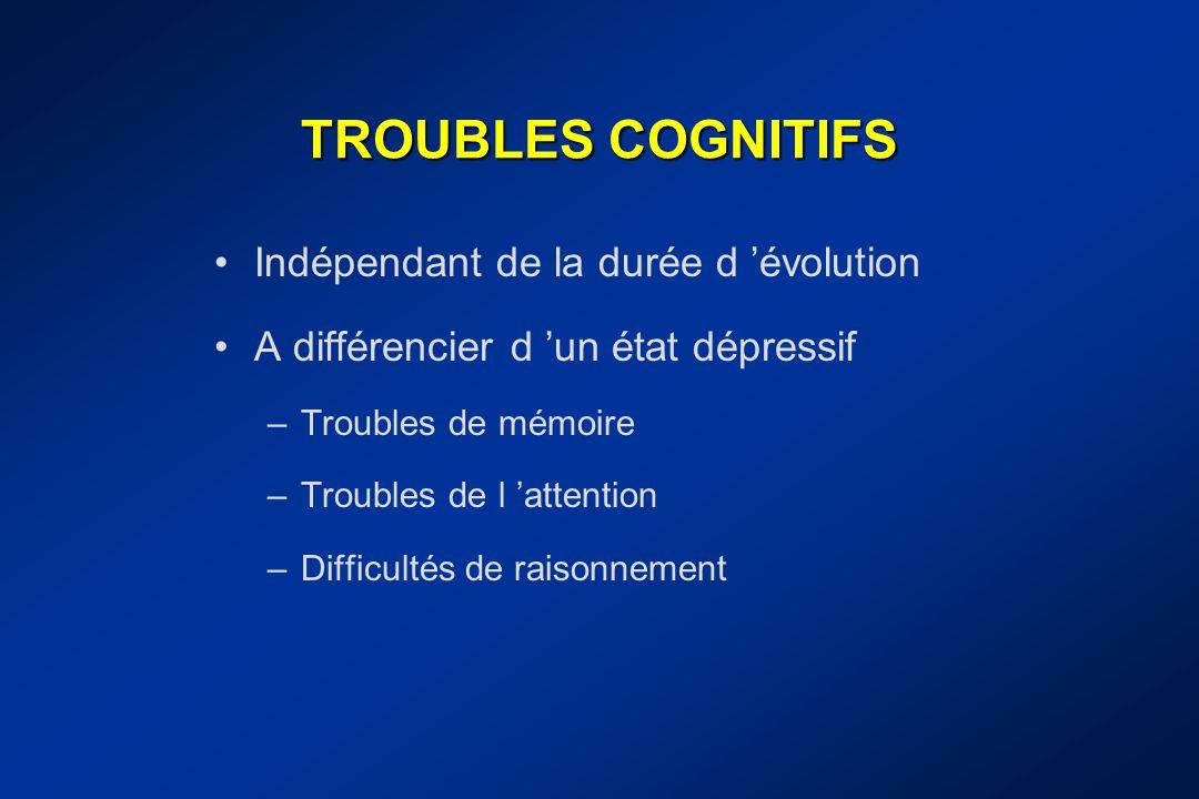 TROUBLES COGNITIFS Indépendant de la durée d 'évolution A différencier d 'un état dépressif –Troubles de mémoire –Troubles de l 'attention –Difficulté