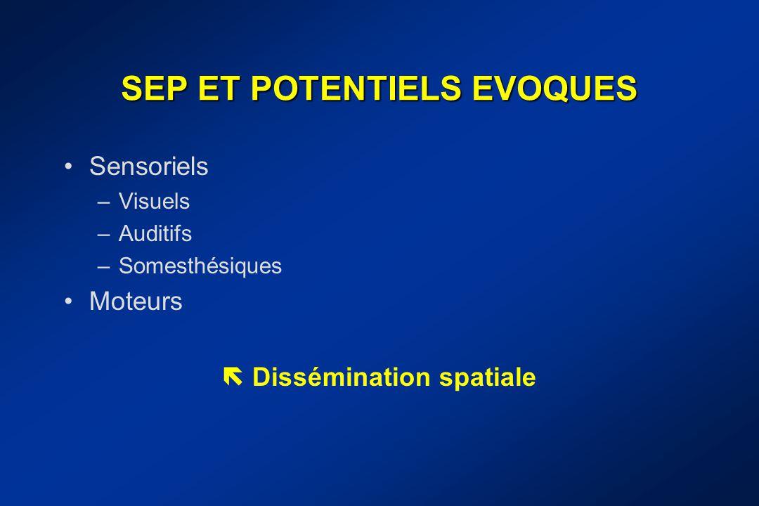 SEP ET POTENTIELS EVOQUES Sensoriels –Visuels –Auditifs –Somesthésiques Moteurs  Dissémination spatiale