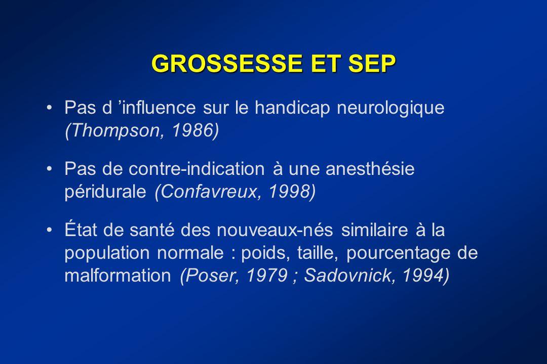 GROSSESSE ET SEP Pas d 'influence sur le handicap neurologique (Thompson, 1986) Pas de contre-indication à une anesthésie péridurale (Confavreux, 1998