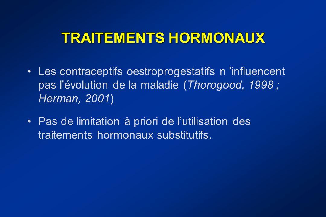 TRAITEMENTS HORMONAUX Les contraceptifs oestroprogestatifs n 'influencent pas l'évolution de la maladie (Thorogood, 1998 ; Herman, 2001) Pas de limita