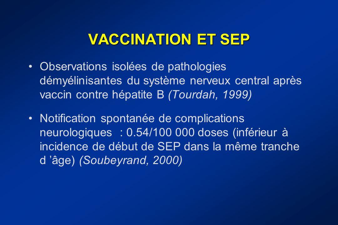 VACCINATION ET SEP Observations isolées de pathologies démyélinisantes du système nerveux central après vaccin contre hépatite B (Tourdah, 1999) Notif