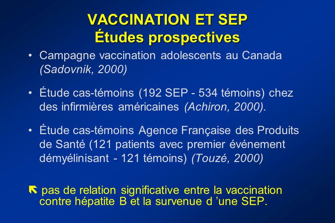 VACCINATION ET SEP Études prospectives Campagne vaccination adolescents au Canada (Sadovnik, 2000) Étude cas-témoins (192 SEP - 534 témoins) chez des