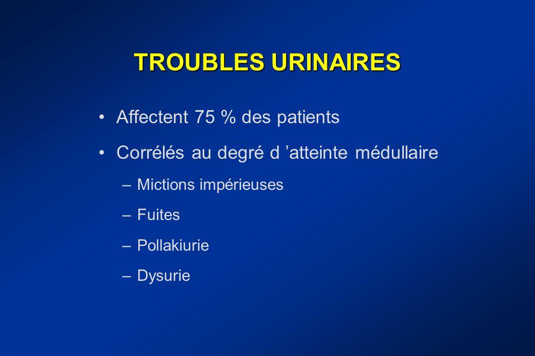 TROUBLES URINAIRES Affectent 75 % des patients Corrélés au degré d 'atteinte médullaire –Mictions impérieuses –Fuites –Pollakiurie –Dysurie