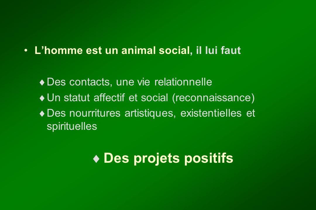 L'homme est un animal social, il lui faut  Des contacts, une vie relationnelle  Un statut affectif et social (reconnaissance)  Des nourritures arti