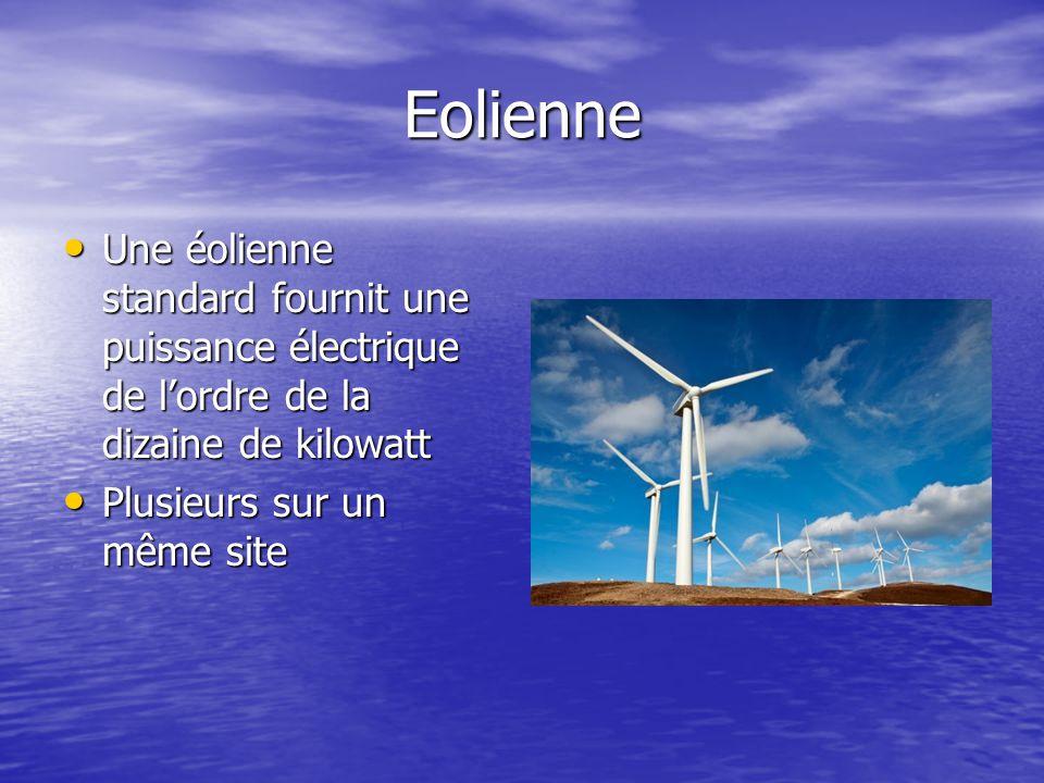 Eolienne Une éolienne standard fournit une puissance électrique de l'ordre de la dizaine de kilowatt Une éolienne standard fournit une puissance élect