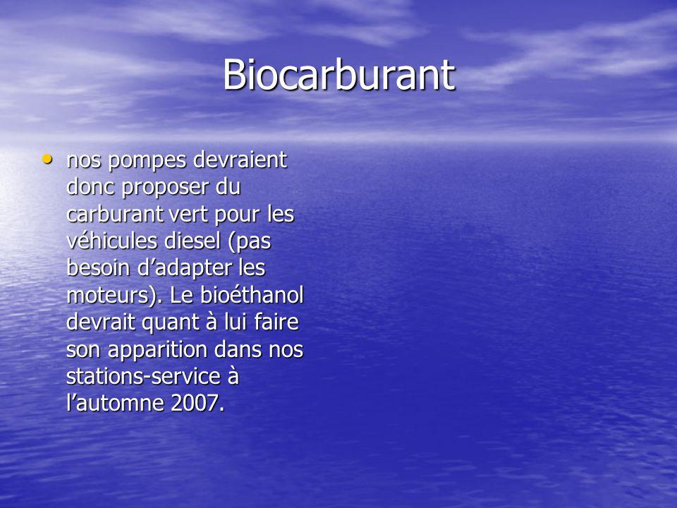 Biocarburant nos pompes devraient donc proposer du carburant vert pour les véhicules diesel (pas besoin d'adapter les moteurs). Le bioéthanol devrait