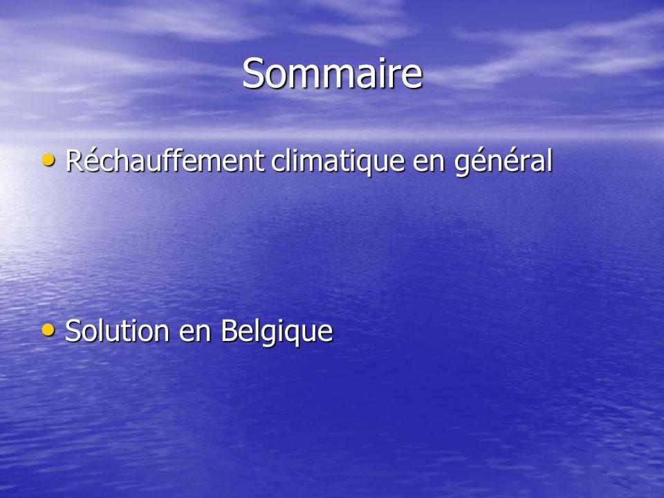 Sommaire Réchauffement climatique en général Réchauffement climatique en général Solution en Belgique Solution en Belgique