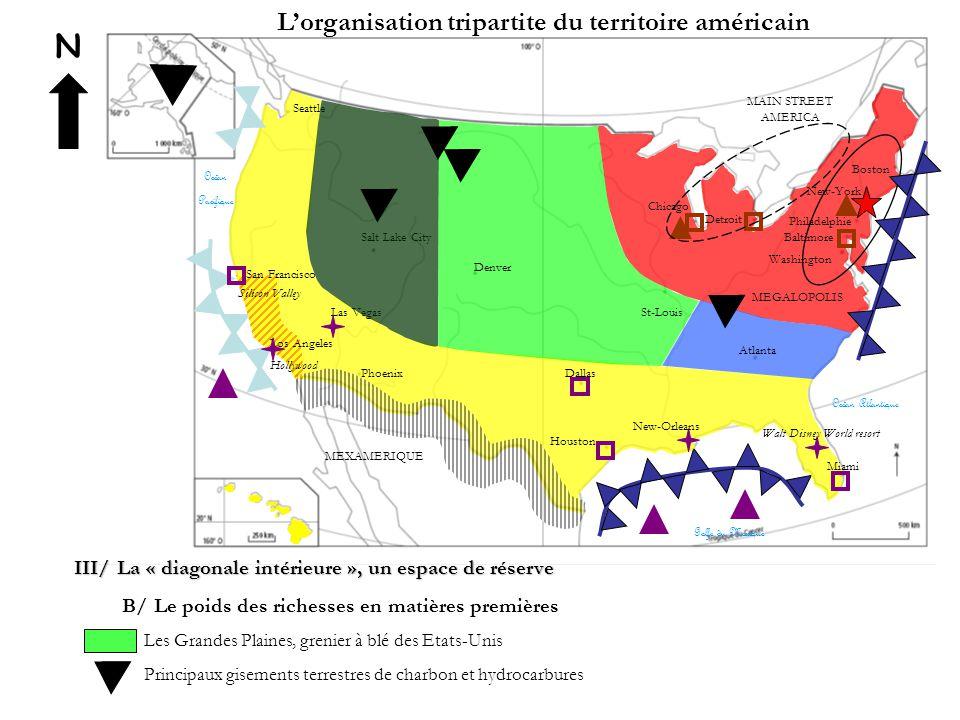 N L'organisation tripartite du territoire américain III/ La « diagonale intérieure », un espace de réserve B/ Le poids des richesses en matières premi