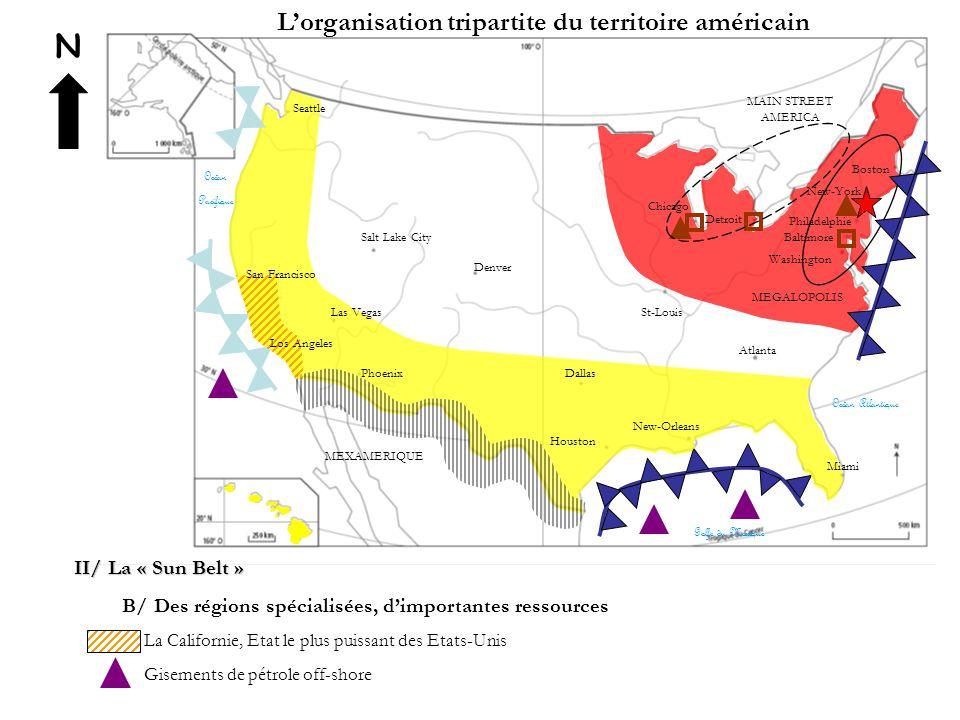 N L'organisation tripartite du territoire américain II/ La « Sun Belt » B/ Des régions spécialisées, d'importantes ressources La Californie, Etat le p