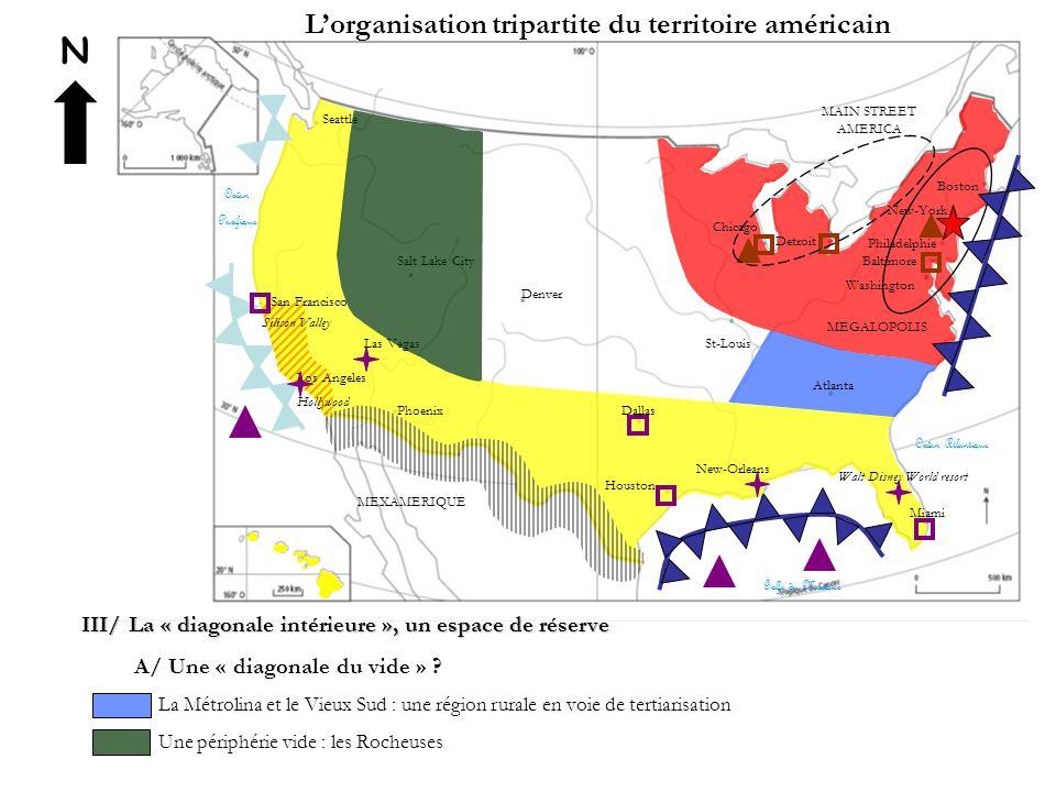 N L'organisation tripartite du territoire américain III/ La « diagonale intérieure », un espace de réserve A/ Une « diagonale du vide » ? La Métrolina