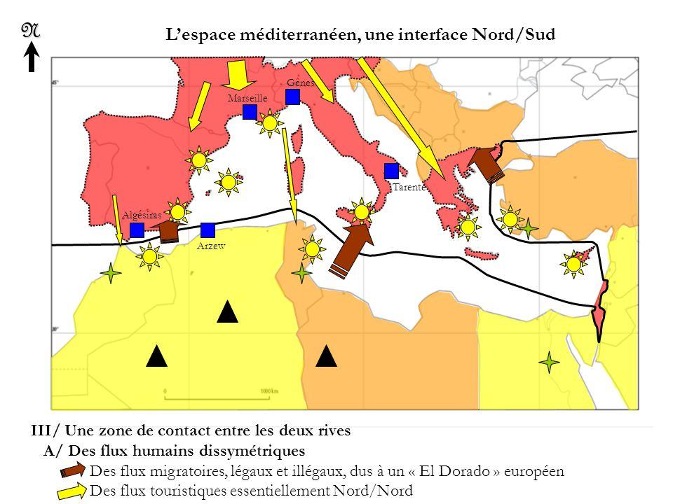 L'espace méditerranéen, une interface Nord/SudN III/ Une zone de contact entre les deux rives B/ Des flux commerciaux et financiers marqués par la dépendance et la verticalité Des flux d'hydrocarbures Sud/Nord Les remises, des flux financiers spécifiques Nord/Sud Algésiras Arzew Marseille Gênes Tarente Tanger Barcelone Alger Tunis Rome Naples Tripoli Le Caire Alexandrie Athènes Izmir Istanbul ESPAGNE PORTUGAL MAROC ALGERIE TUNISIE LIBYE EGYPTE TURQUIE ITALIE FRANCE GRECE ISRAEL Jérusalem