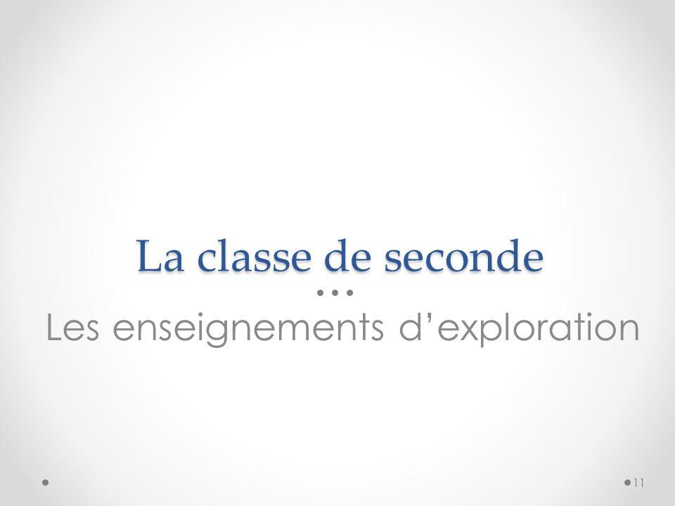 La classe de seconde Les enseignements d'exploration 11