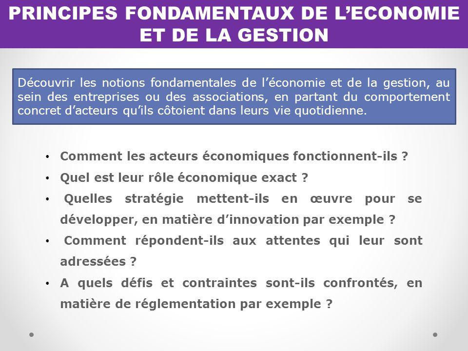 PRINCIPES FONDAMENTAUX DE L'ECONOMIE ET DE LA GESTION Comment les acteurs économiques fonctionnent-ils .
