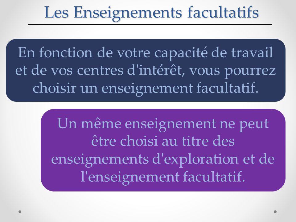 Les Enseignements facultatifs En fonction de votre capacité de travail et de vos centres d intérêt, vous pourrez choisir un enseignement facultatif.