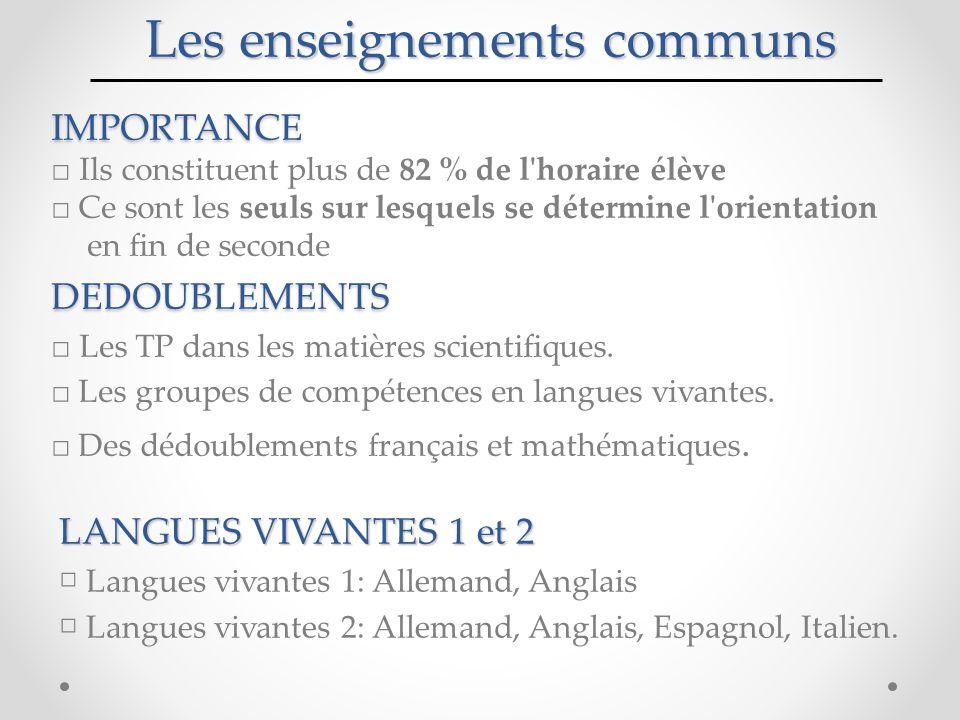 Les enseignements communs IMPORTANCE □ Ils constituent plus de 82 % de l horaire élève □ Ce sont les seuls sur lesquels se détermine l orientation en fin de secondeDEDOUBLEMENTS □ Les TP dans les matières scientifiques.