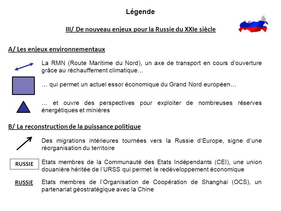 Légende III/ De nouveau enjeux pour la Russie du XXIe siècle A/ Les enjeux environnementaux La RMN (Route Maritime du Nord), un axe de transport en co